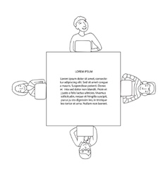 Square frame with people working at laptop vector image