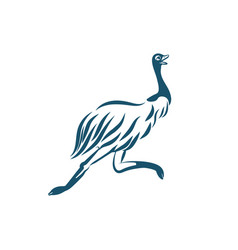 Stylized emu bird running on white background vector