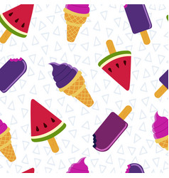 Summer ice cream fun seamless pattern design vector