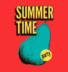 summer time party grunge vintage pop art poster vector image