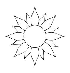 sun cartoon symbol black and white vector image