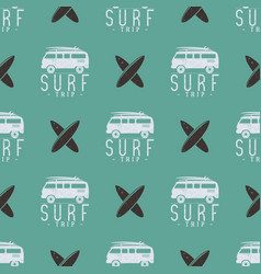surfing trip pattern design summer seamless with vector image
