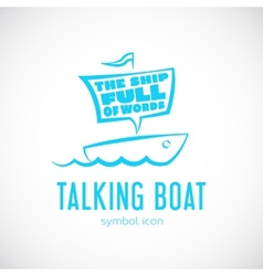 Talking Cloud and Sailing Boat Concept Symbol Icon vector