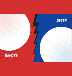 Template before and after background comparison vector