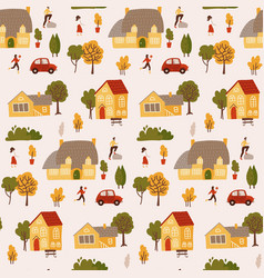 tiny people surrounded houses and trees vector image