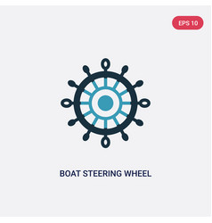 Two color boat steering wheel icon from nautical vector