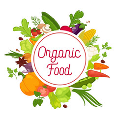 vegetables healthy food poster of organic veggie vector image
