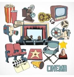 Vintage cinema concept poster vector image