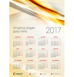 Wall Calendar Poster for 2017 Year Design Print vector