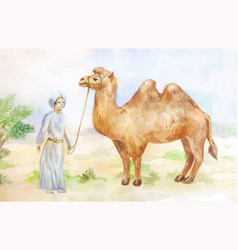 watercolor of camel and chasseur on desert vector image