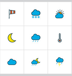 weather icons colored line set with raindrop vector image