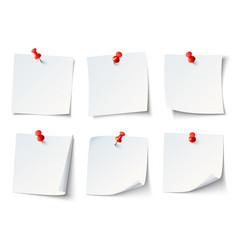 white paper notes on red thumbtack top view note vector image