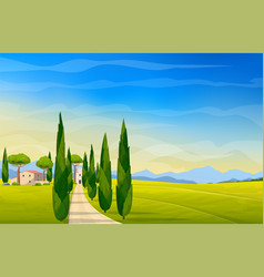 Wide panorama rural countryside italy vector