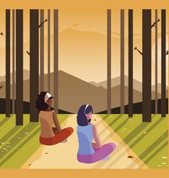 Women couple contemplating horizon in forest vector
