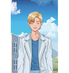 Young blond boy hentai style character outdoor vector