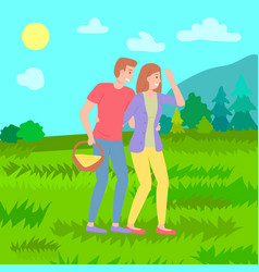 young family walking rest at nature couple woman vector image