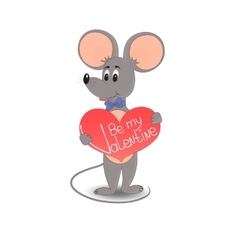 A mouse with a red heart Be my Valentine vector image vector image