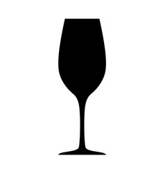 black wineglass silhouette isolated on white vector image vector image