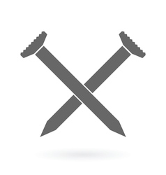 crossed nails icon vector image vector image