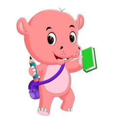 cute hippo go to school vector image vector image