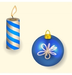 Christmas candle and Ball reflecting New Year vector image