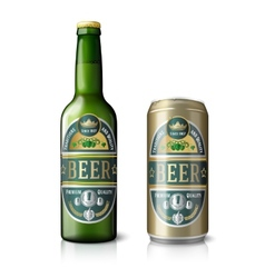 Green beer bottle and golden can with labels vector image