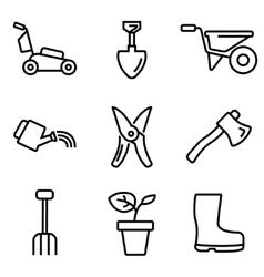 line gardening icons set vector image