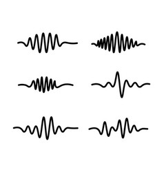 line sound waves icon on white background vector image