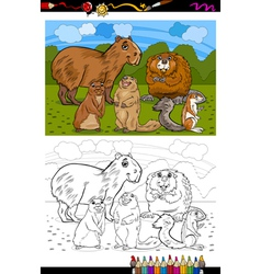 rodents animals cartoon coloring book vector image