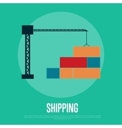 Shipping banner with freight crane vector