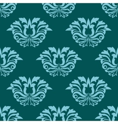 Turquoise blue damask style seamless pattern vector image vector image