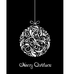 White christmas ball on black background vector