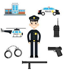Elements for infographic police car department vector image vector image
