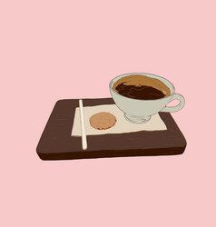 hot coffe with cookie on wood tray sketch vector image