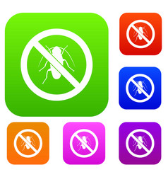 no cockroach sign set collection vector image vector image