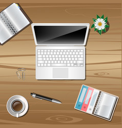 work object on wooden background vector image vector image