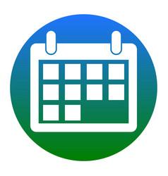 calendar sign white icon in vector image