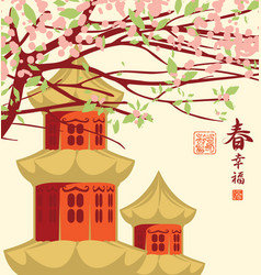 Chinese landscape with branches vector