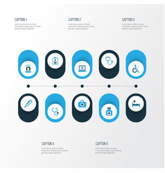 Drug colorful icons set collection of handicapped vector