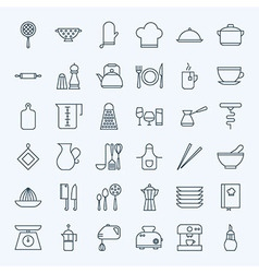 Line Cooking Utensils and Kitchenware Icons Set vector image vector image