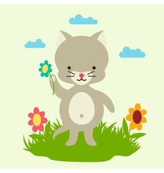 Little cute baby cat picking flowers vector image vector image