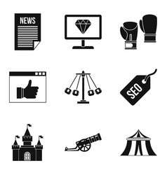 world news icons set simple style vector image