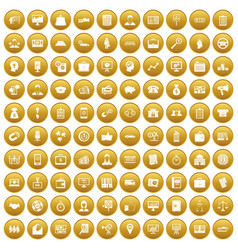 100 business group icons set gold vector image