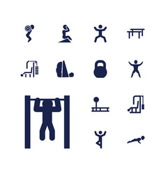 13 workout icons vector