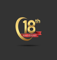 18 years anniversary logo style with swoosh ring vector