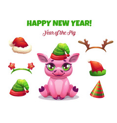 2019 year of the pig cute cartoon piglet vector image