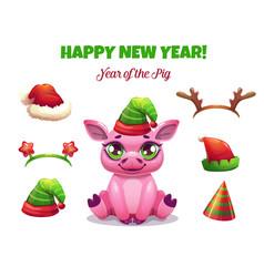 2019 year pig cute cartoon piglet vector image