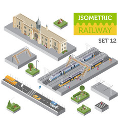 3d isometric train station and city map vector
