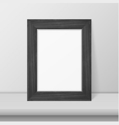 3d realistic black wooden simple modern vector image