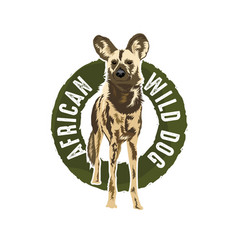 African wild dog logo design vector